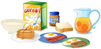 Many kinds of food for breakfast Royalty Free Stock Photo