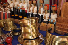 Many kinds of souvenirs of long lack hill tribe Royalty Free Stock Images