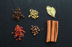 Many kinds of spices on a stone Royalty Free Stock Image