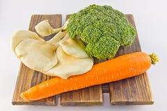 Many kinds vegetables. Fresh vegetables on wood, white background Stock Photo