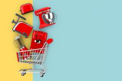 Many Kitchen Appliance Falling in Shopping Cart. 3d Rendering stock illustration