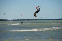 Many Kite board surfers on ocean royalty free stock photo
