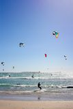 Many Kiteboarders in Water Stock Photo