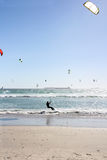 Many Kiteboarders in Water Stock Images