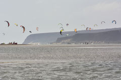 Many kiters n the lagoon Royalty Free Stock Image
