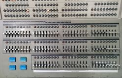 Many labeled lights & switches on a vintage computer. At the Living Computer Museum in Seattle royalty free stock photography