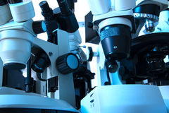 Many microscopes Royalty Free Stock Images