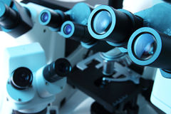 Many microscopes Royalty Free Stock Image