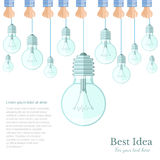 Many lamp or lightbulb light off  Idea flat background Stock Images