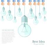 Many lamp or lightbulb light off  Idea flat background Stock Images