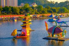 Many Lantern floating in the river in Jinju Lantern Festival at royalty free stock images
