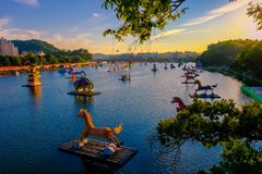 Many Lantern floating in the river in Jinju Lantern Festival at stock images