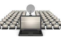 Many laptops and satellite on white background Royalty Free Stock Image