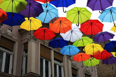 Many of the larger size hanging umbrellas.  royalty free stock image