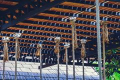 Many layers of rope tied around roof, vintage style photo in caf Royalty Free Stock Photo