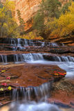 Many layers of Zion Red Waterfalls Royalty Free Stock Images