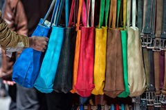 Many leather woman bags Royalty Free Stock Images