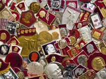 Many Lenin badges (close-up) Royalty Free Stock Photo