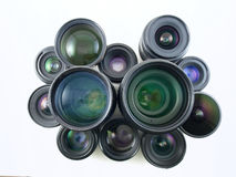 Many Lenses. For many cameras, collected over the years Stock Photos