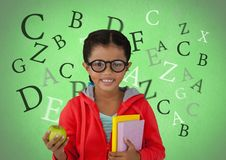 Many letters around Girl with apple and books in front of green background Royalty Free Stock Photos