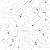Many letters and envelopes with stamps mail doodle seamless pattern background Stock Photography