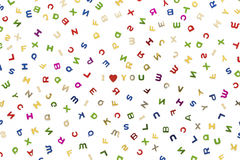 Many letters of various colors. Mixed, with I Love You in the center Royalty Free Stock Photo