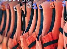 Many life jackets. Royalty Free Stock Photos