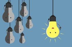 Many light bulb characters Royalty Free Stock Photo