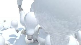 Many light bulb fall on white background stock footage
