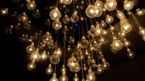 Immersed in a universe full of light bulbs royalty free stock photo