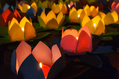 Many light lotus lanterns Stock Image