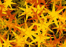 Many light yellow flying stars on black backgrounds Stock Images
