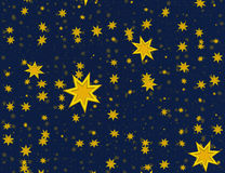 Many light yellow flying stars on a blue backgrounds Royalty Free Stock Photo