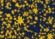 Many light yellow flying stars on a blue backgrounds Stock Photos