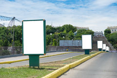 Many lightboxes on the street Stock Photography