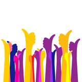 Many likes thumbs up colorful bright background. Hand forest illustration Stock Image