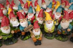 Many little garden gnomes. Group of many little garden gnomes stock image
