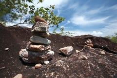 Many little stone on big stone Stock Photos