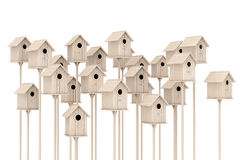 Many Little Wooden Birdhouses. 3d Rendering Royalty Free Stock Image