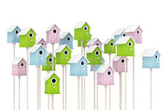 Many Little Wooden Multicolor Birdhouses. 3d Rendering Stock Photos