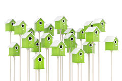 Many Little Wooden Olive Birdhouses. 3d Rendering Royalty Free Stock Photo