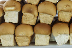 Many loaves of fresh bread. On the market Stock Image
