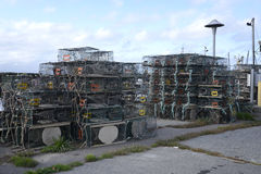 Many lobster traps or cages Stock Images