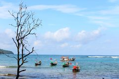 Many local fisherman boat on coast line in sunshine day. Blue sky ocean Stock Images