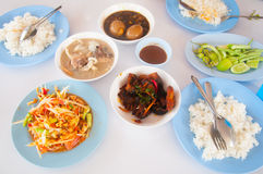 Many local Thai food lunch Royalty Free Stock Photos