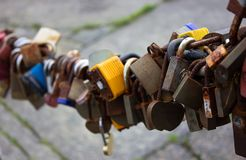 Many locks art Liverpool in United Kingdom stock photography