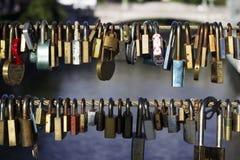 Many locks without keys hang on a bridge in Ljubljana, Slovenia. Locks left by people in love, a symbol of eternal love.  stock images