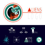 Many logos UFO aliens. A lot of interesting logos for UFO aliens Stock Images