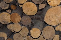 Many logs gray trunk storage of fuel for the fireplace rustic background stock image
