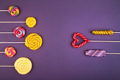 Many lollipops on the background. stock image